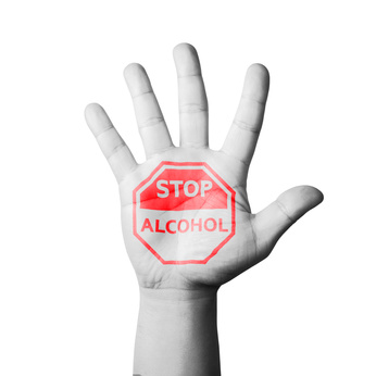 Open Hand Raised, Stop Alcohol Sign Painted