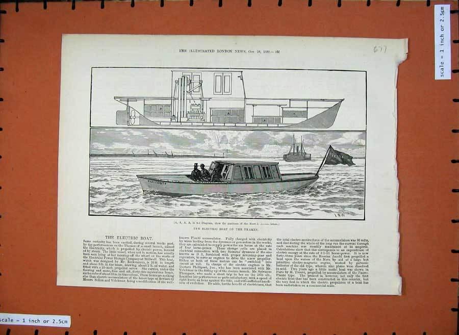 Old-Antique-Print-1882-Electric-Boat-River-Thames