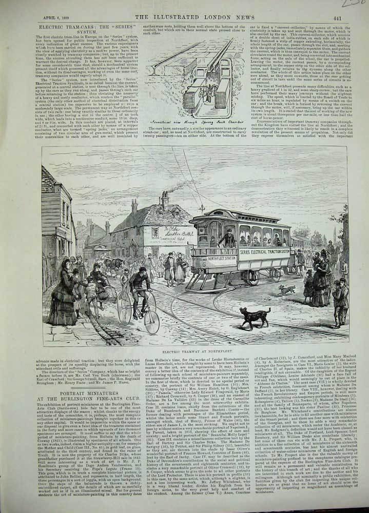 Old-Antique-Print-1889-Electric-Tramway-Northfleet-Railway