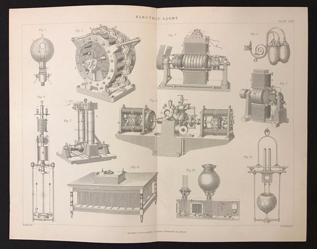 Original-Antique-book-print-1883-ELECTRIC-LIGHT-APPARATUS