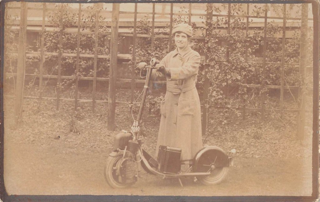People-Postcard-Lady-Lady-On-Antique-Scooter-Petrol